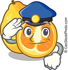 Police ugli fruit above the cartoon table vector...