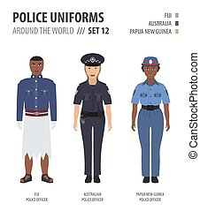 Police uniforms around the world. Suit, clothing of australian and oceanian police officers vector illustrations set