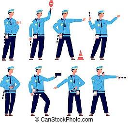 police., véhicule, contrôle, trafic, vecteur, chauffeur, sécurité, isolé, route, patrouille, officer., sécurité, caractères, contrôleur, stationnement
