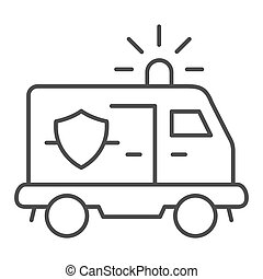Police van thin line icon. Police automobile vector illustration isolated on white. Police vehicle outline style design, designed for web and app. Eps 10.