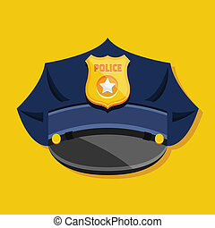 police, vecteur, chapeau