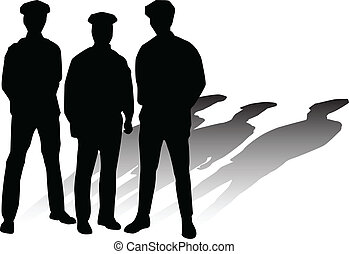 police, vecteur, silhouettes