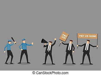 Police vs Employees on Riot Vector Cartoon Illustration - ...