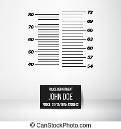 Police Wall Lineup Metrical Imperial. Prison Background Template. Vector Illustration