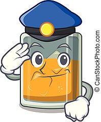 Police whiskey the in a cartoon glass