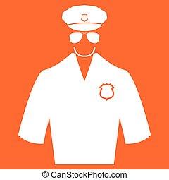 Police white color icon .