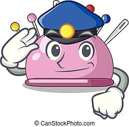 Police wicker basket on a pincushion cartoon vector...