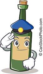 Police wine bottle character cartoon