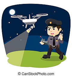 police with drone patrolling at