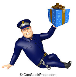Police with Gift box