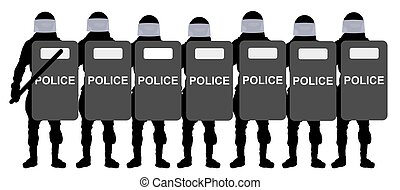Police with shields. Silhouette vector illustration