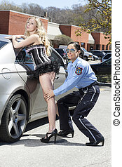police woman and sexy courtesan - A police woman arrested a...