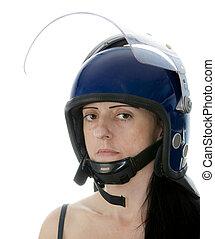 police woman in riot helmet