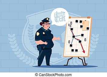Police Woman Planning Action On White Board Wearing Uniform Female Guard On Blue Bricks Background