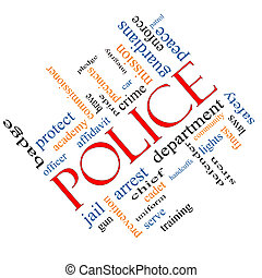 Police Word Cloud Concept angled with great terms such as protect, serve, peace, brave and more.