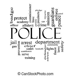 Police Word Cloud Concept in black and white with great...