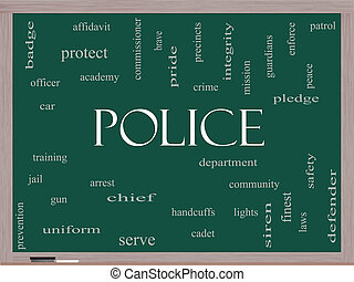 Police Word Cloud Concept on a Blackboard