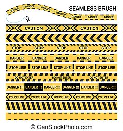 Police yellow tape seamless brush vector design template caution warning stop ribbon