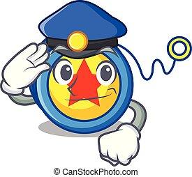 Police yoyo character cartoon style vector illustration