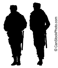 Special police forces  on white background