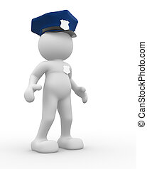 Policeman - 3d people - human character , person -...