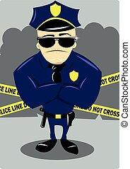 Policeman and Crime Scene - A vector cartoon representing a...