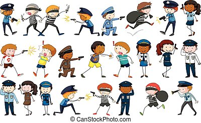 Policeman and criminal characters illustration