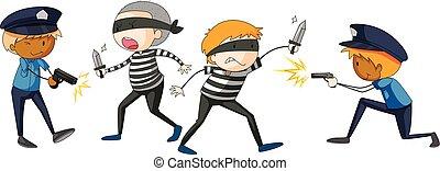 Policeman and criminal fighting