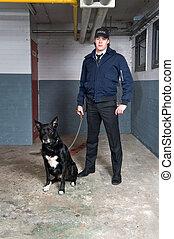 Policeman and K9 unit