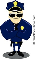 Policeman and white background