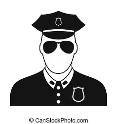 Policeman black plain icon. Simple black symbol on a white...