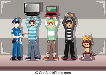 Policeman catching criminals