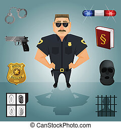 Policeman character with icons - Policeman character with...