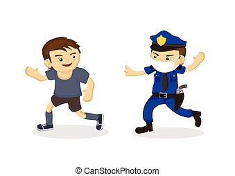 Policeman chasing a man not wearing a mask. The concept of ...