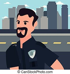 policeman city street
