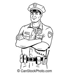 Police coloring book vector. Vector line art doodle set of cartoon ...