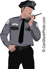 Policeman communicate by walkie-talkie radio. Vector...