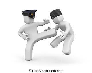 Policeman defused a thief. 3d illustration