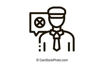 Policeman Denial Icon Animation. black Policeman Denial animated icon on white background