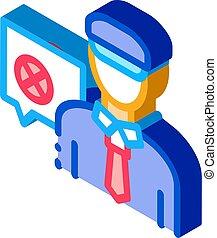 Policeman Denial isometric icon vector illustration - ...