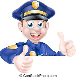 Policeman Double Thumbs Up - An illustration of a cute...