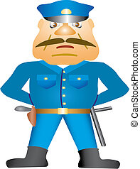 Policeman with gun. Isolated Vector Illustration.