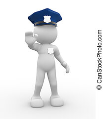 Policeman - 3d people - human character , person with police...