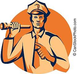 Policeman Flashlight Torch Pointing Retro