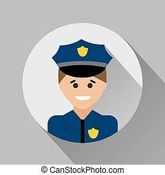 Policeman flat style icon. Vector illustration. Flat icon.