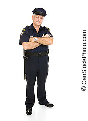 Policeman - Full Body Isolated - Handsome mature policeman...
