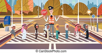 Policeman Guard Helping Group Of Arab School Children To...