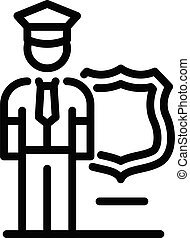 Policeman guard icon. Outline policeman guard vector icon for web design isolated on white background