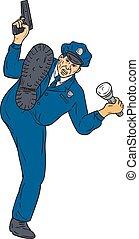 Policeman Gun Flashlight Torch Kicking Drawing