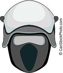 Policeman head in a face mask icon monochrome